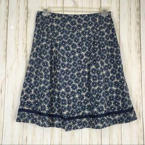 DKNY Floral Silk Pleated Skirt